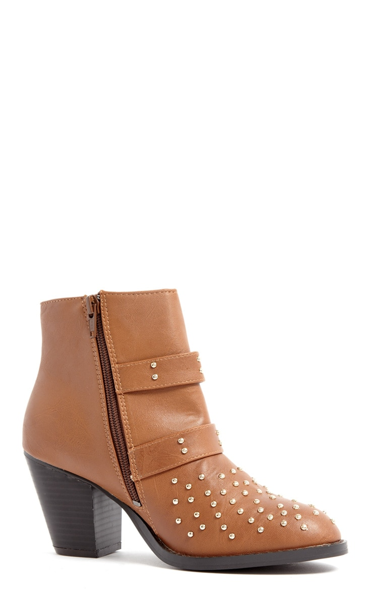 India Tan Stud Buckle Boots 2