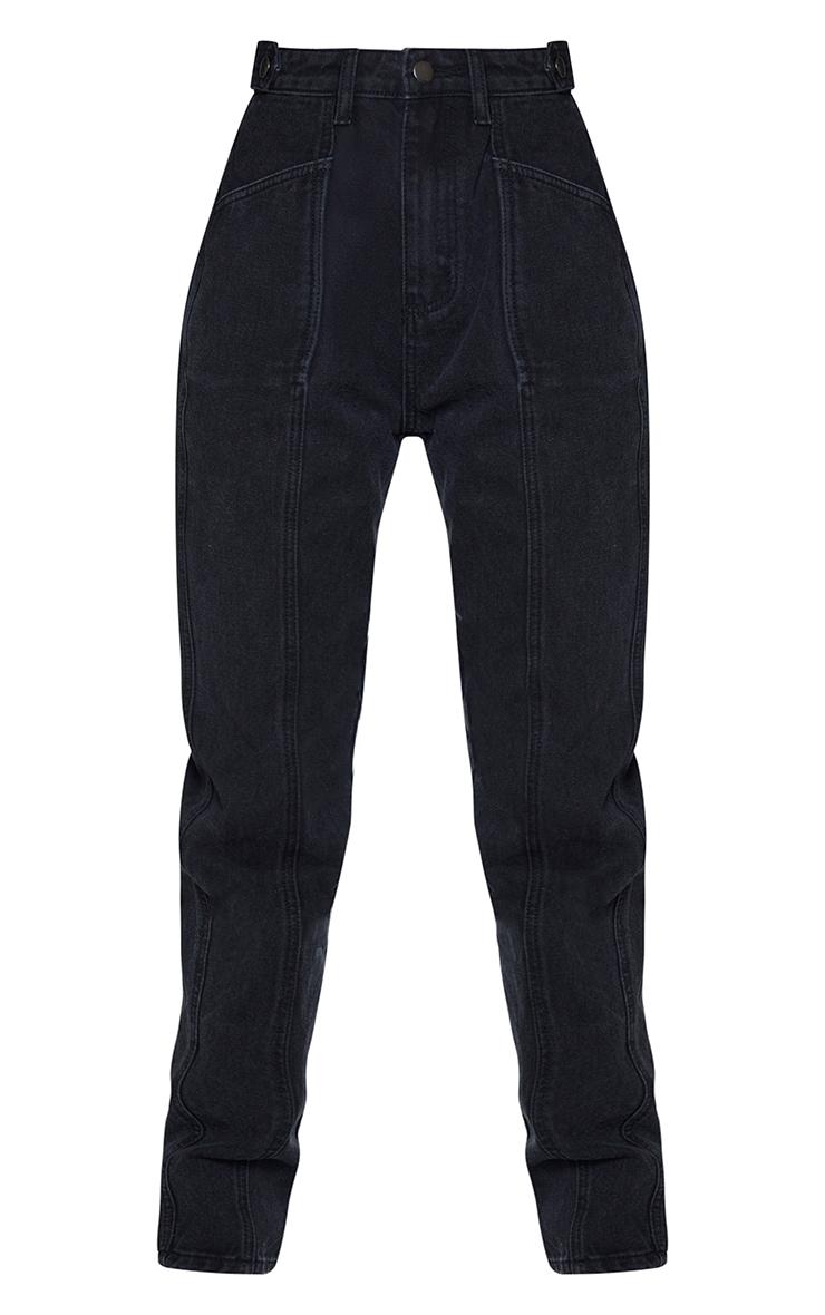 Washed Black Front Seam Pocket Detail Straight Leg Jeans 5