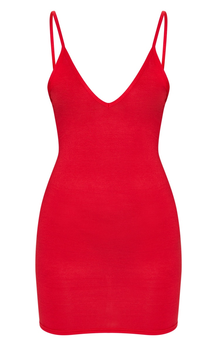 Basic Red Extreme Plunge Strappy Bodycon Dress 5