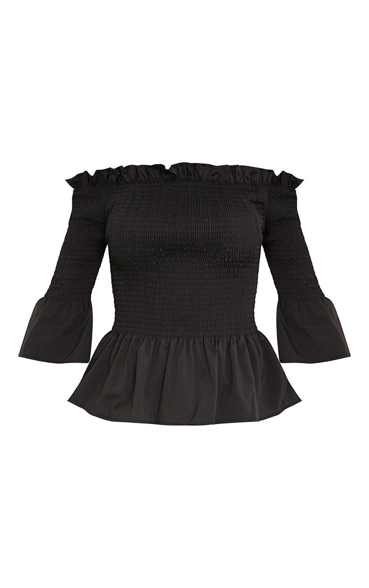 Pami Black Ruched Bardot Cotton Shirt 3