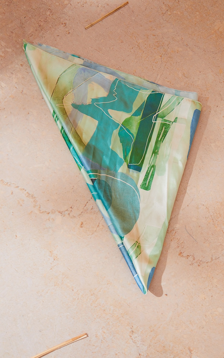 Blue Abstract Print Satin Bandana 2