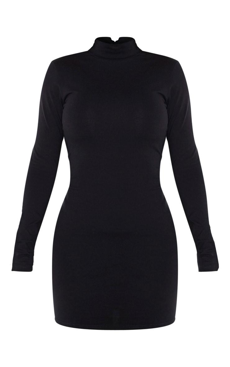 Shape - Robe moulante en coton noir à col montant 5