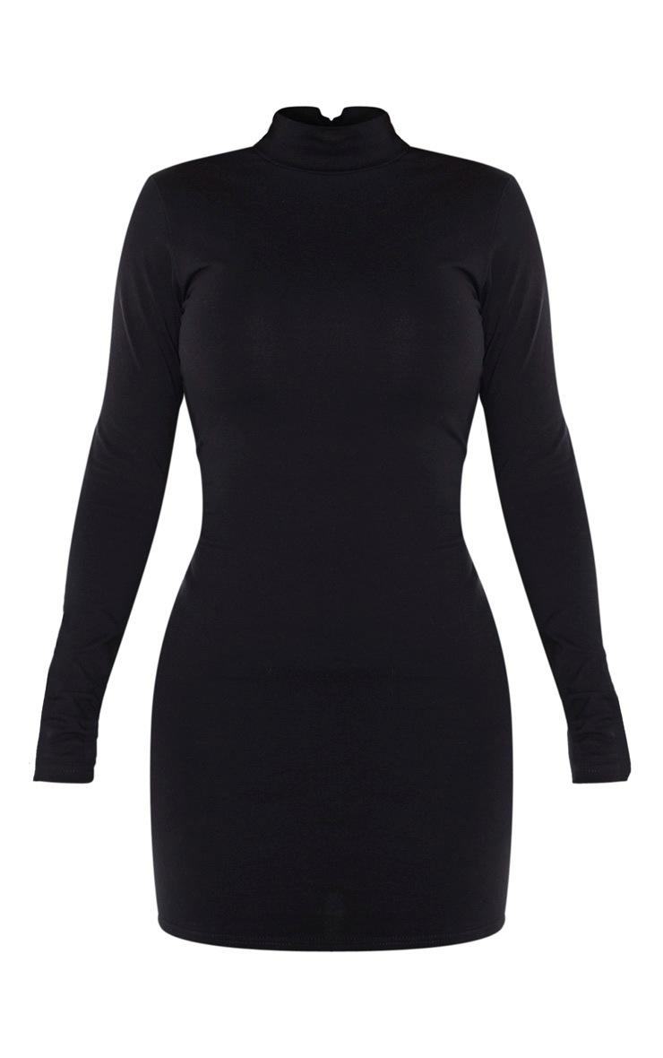 Shape Black Cotton High Neck Bodycon Dress 5