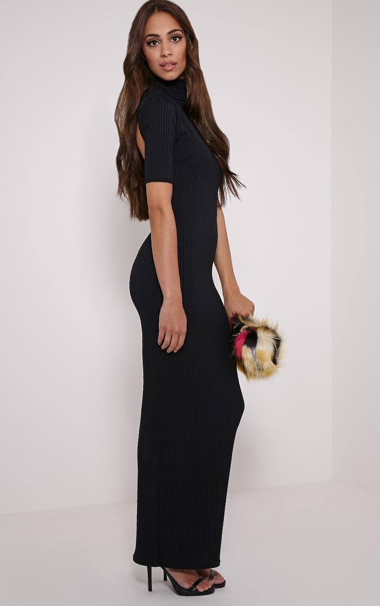 Daria Black Open Back Ribbed Maxi Dress 3