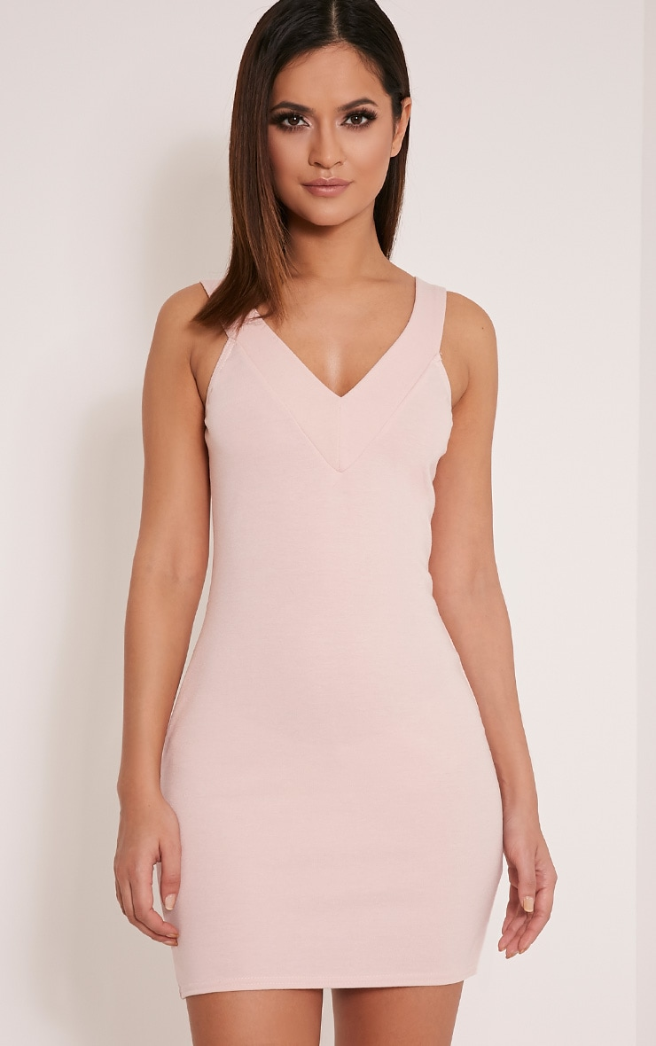 Shayla Nude Ponte Plunge Bodycon Dress 1