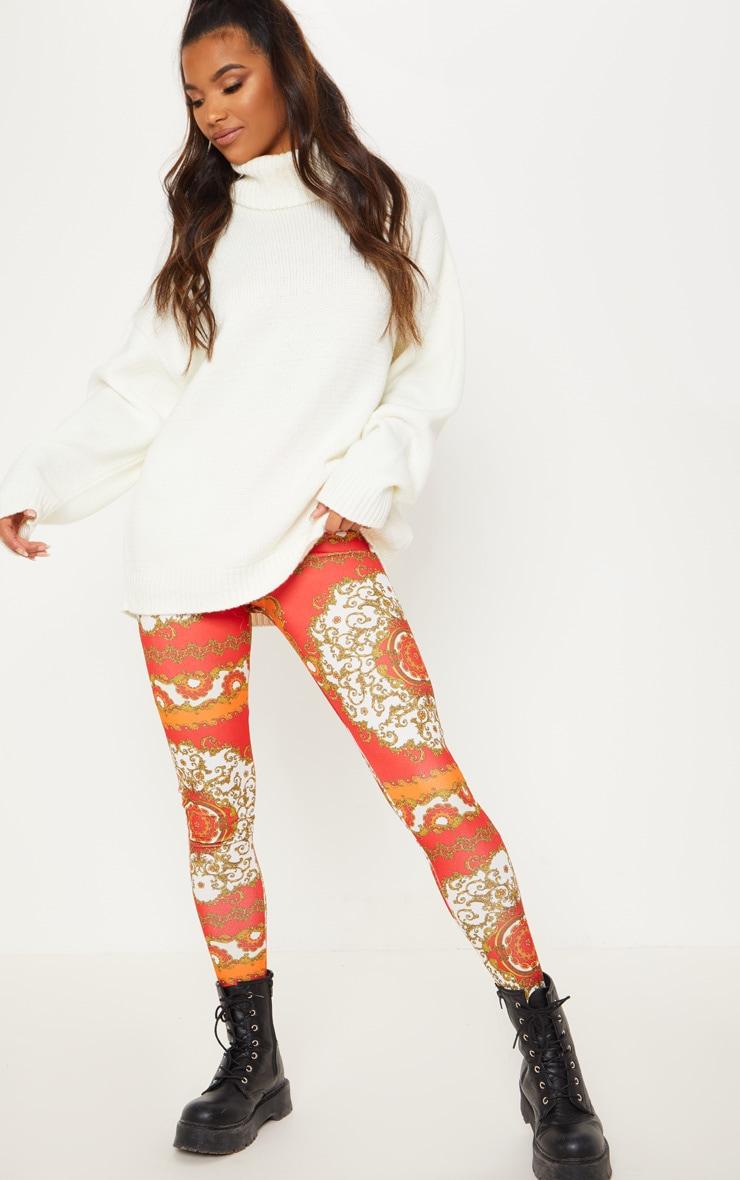 Red Chain Print High Waisted Legging