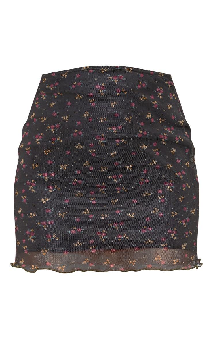 Jupe noire en mesh ondulé à imprimé petites fleurs  3