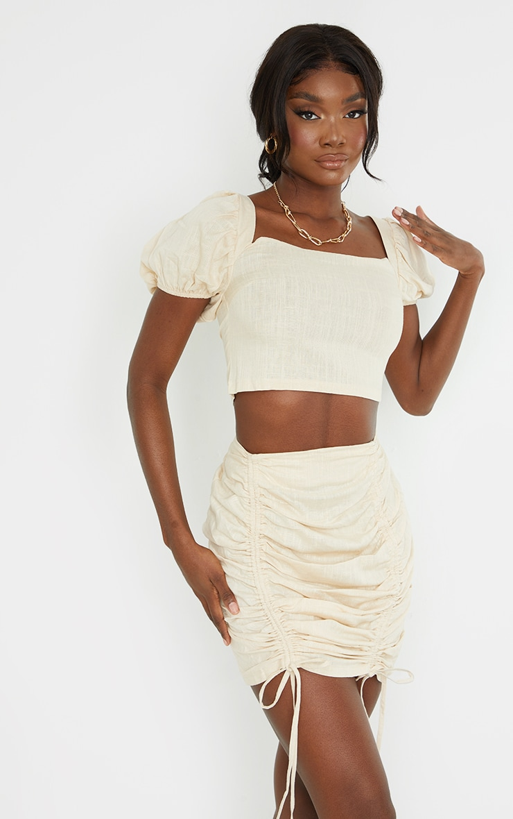 Tall Stone Ruched Bodycon Skirt 3