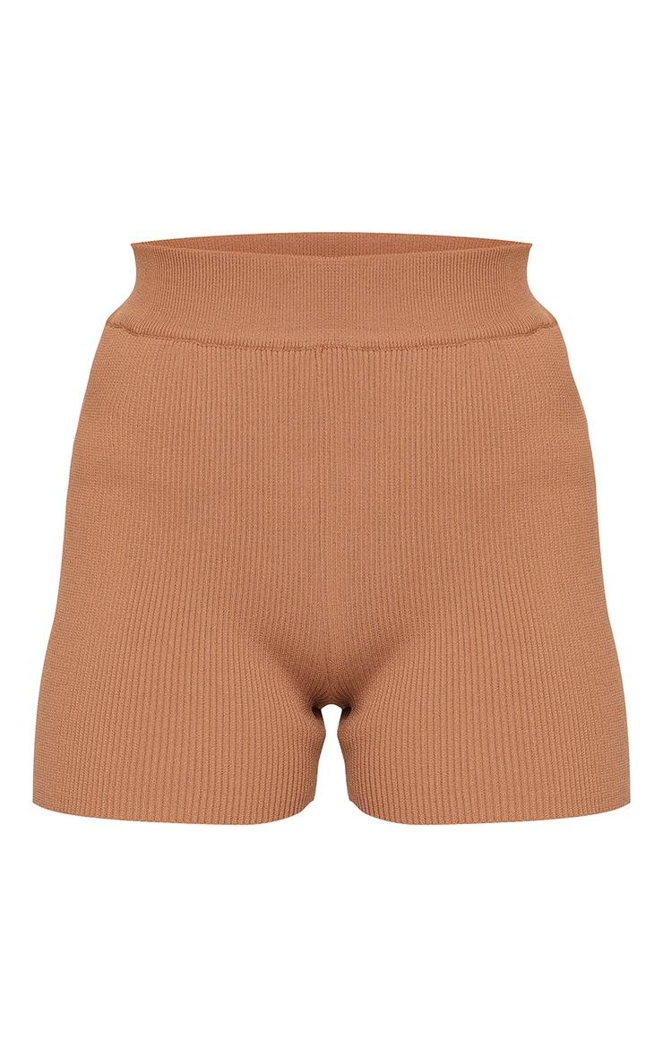Chocolate Ribbed Knitted High Waist Hot Pant Shorts 6