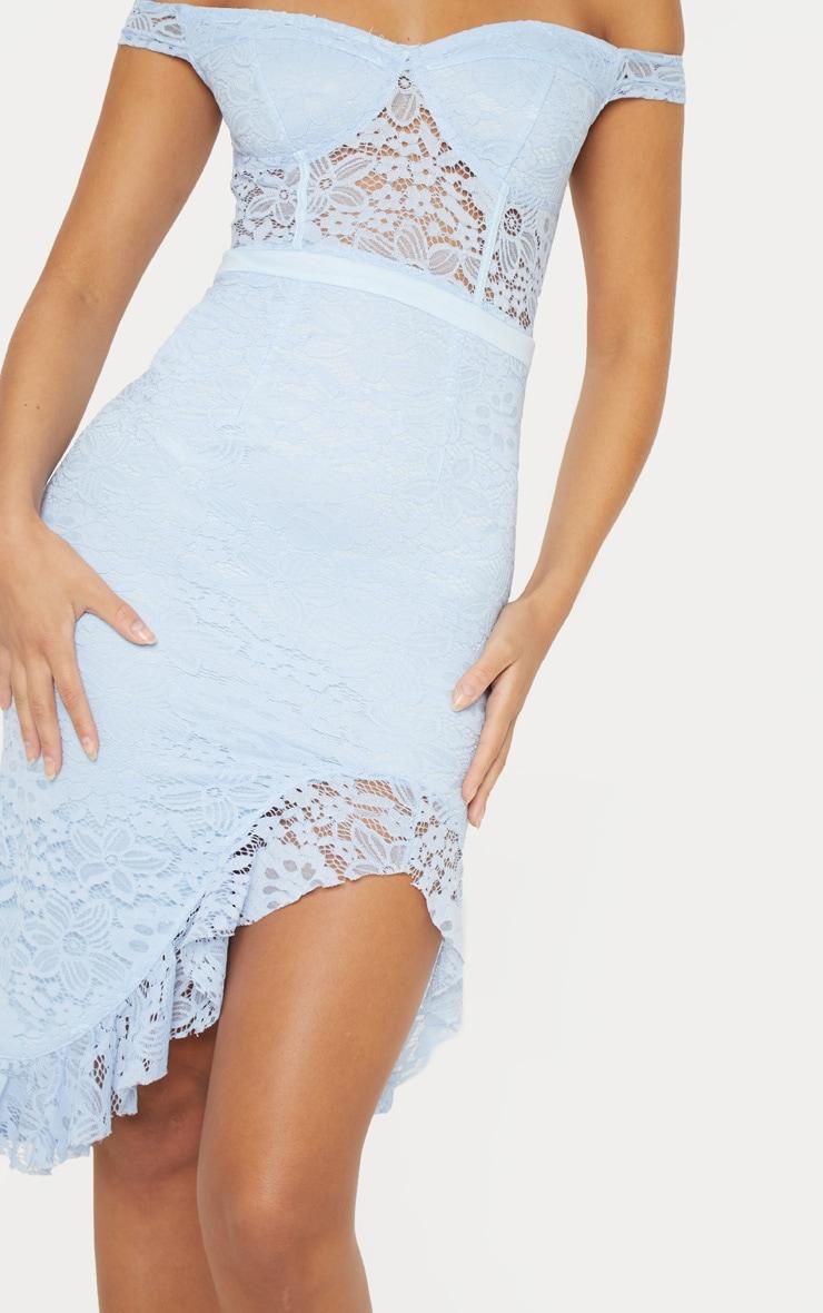 Dusty Blue Lace Bardot Sheer Panel Frill Hem Midi Dress 5