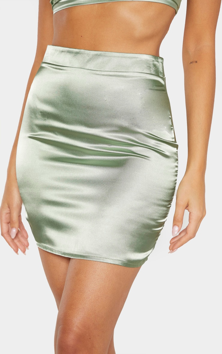 Sage Green Satin High Waisted Mini Skirt 6