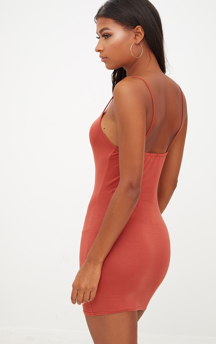 Burnt Orange Strappy Bodycon Dress 2