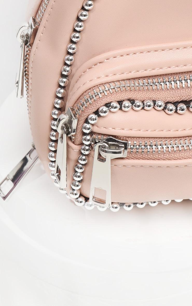 Mini sac à dos rose pâle à bordure chaîne ronde 3