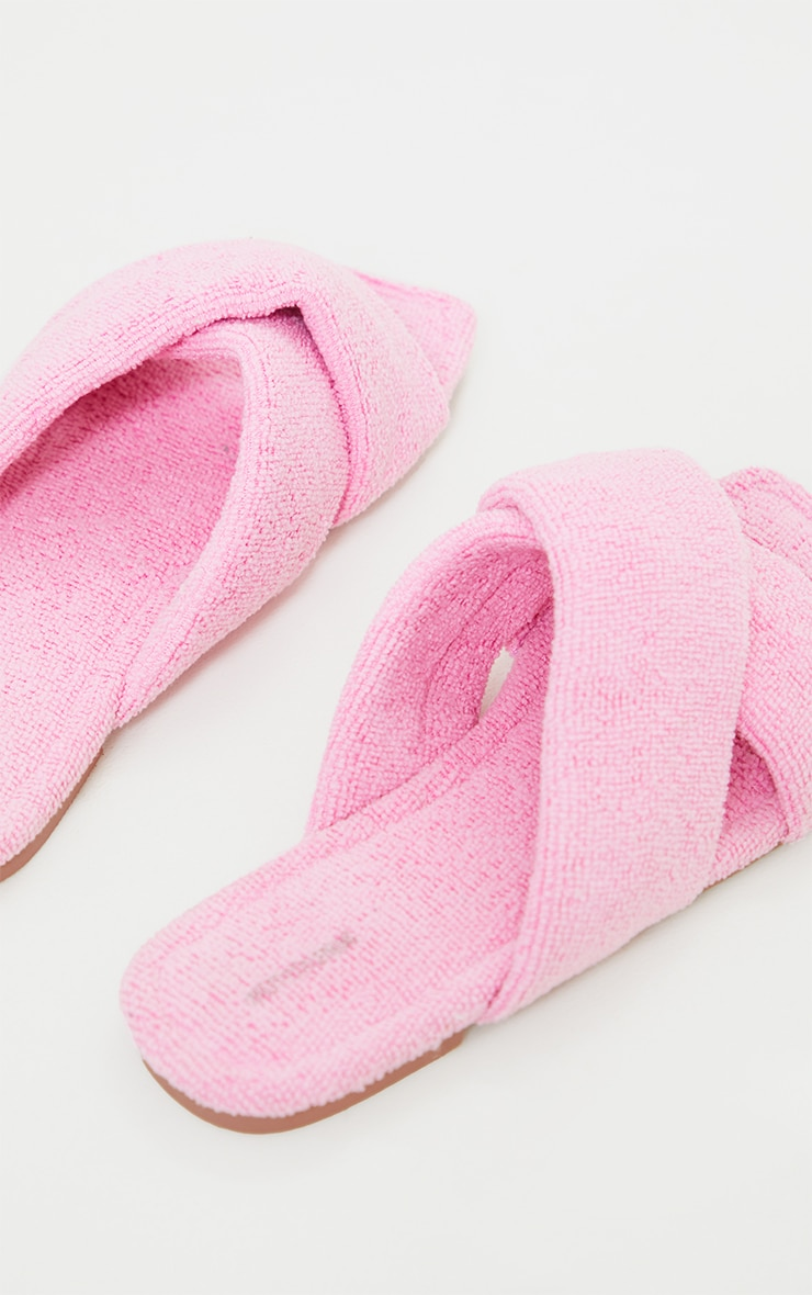 Pink Towelling Square Toe Cross Over Mule Sandals 4