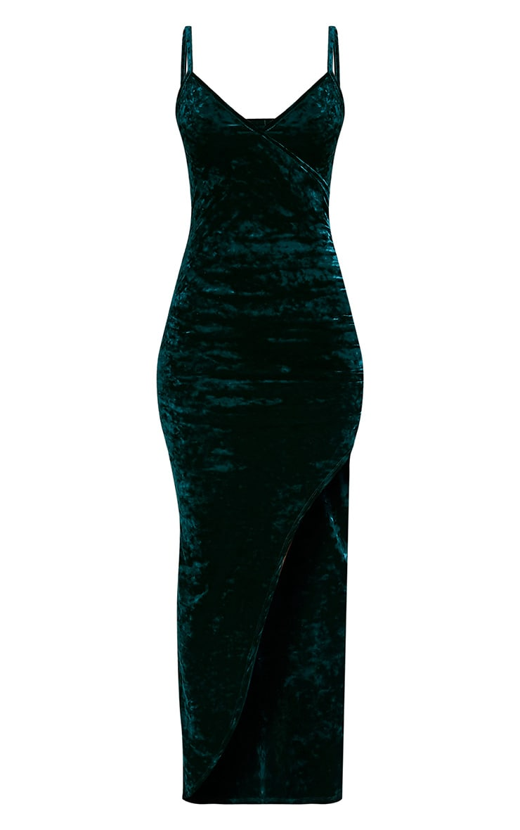 Sansia Emerald Green Crushed Velvet Asymmetric Maxi Dress 3
