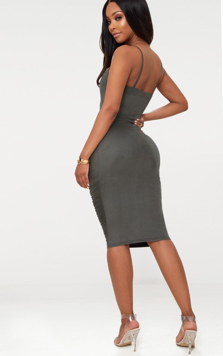 Shape Khaki Faux Suede Ruched Midi Dress 2