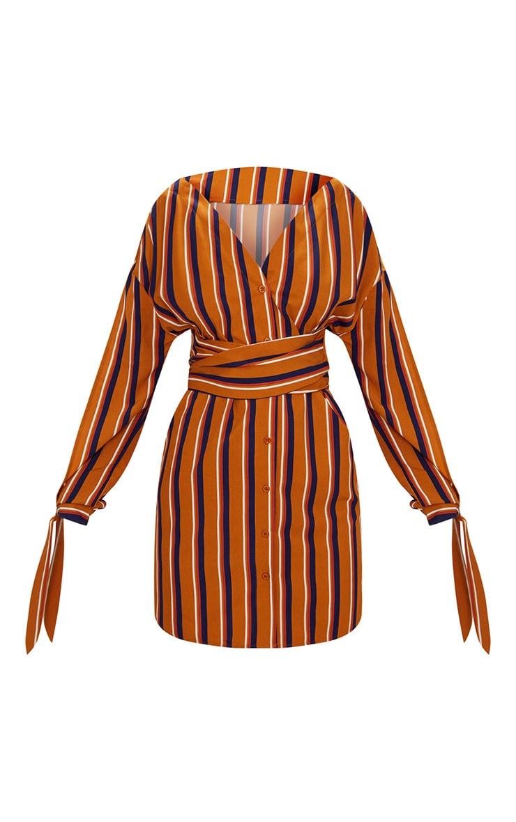 Mustard Striped Off the Shoulder Shirt Dress 3
