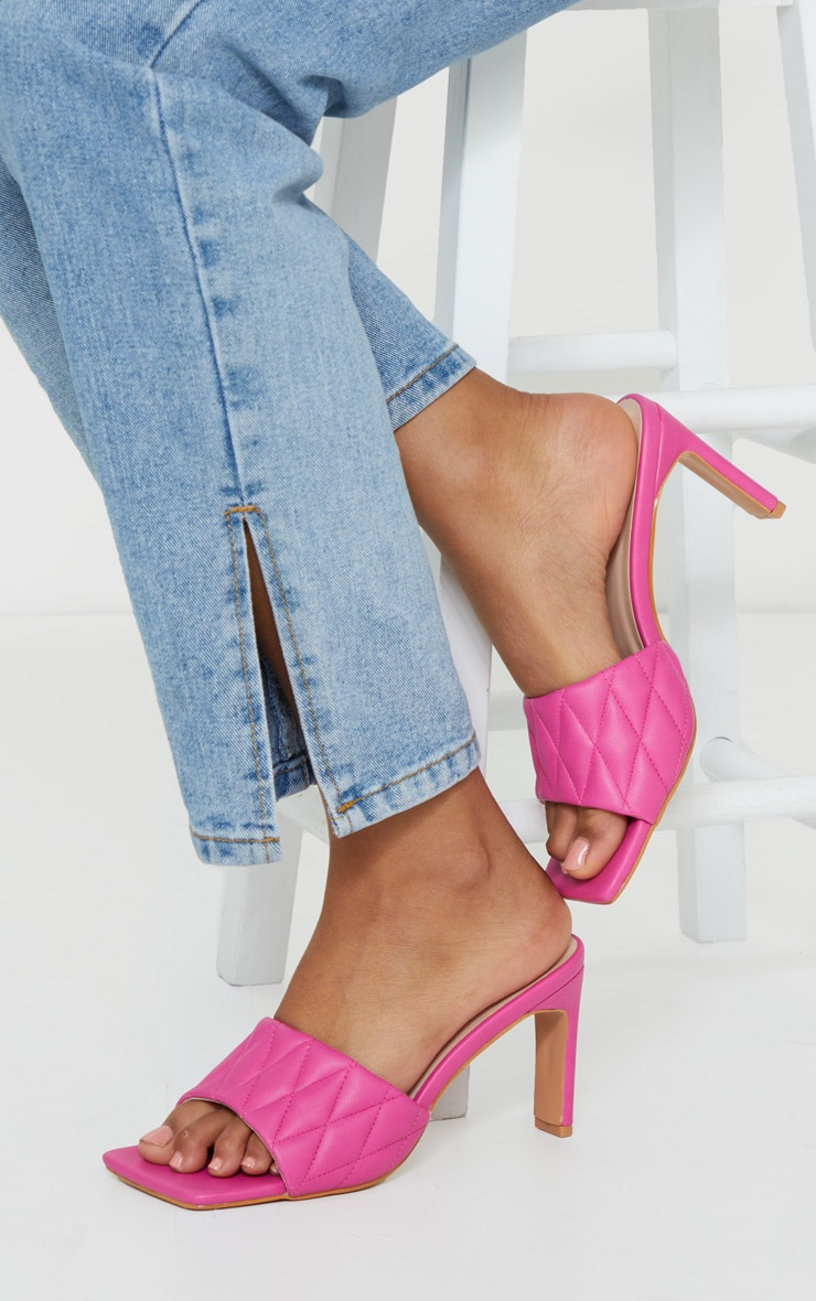 Pink Extreme Square Toe Quilted Strap Mule Heel 1