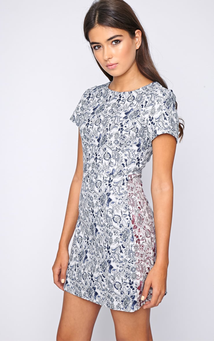 Arya Blue Paisley Print Shift Dress 4