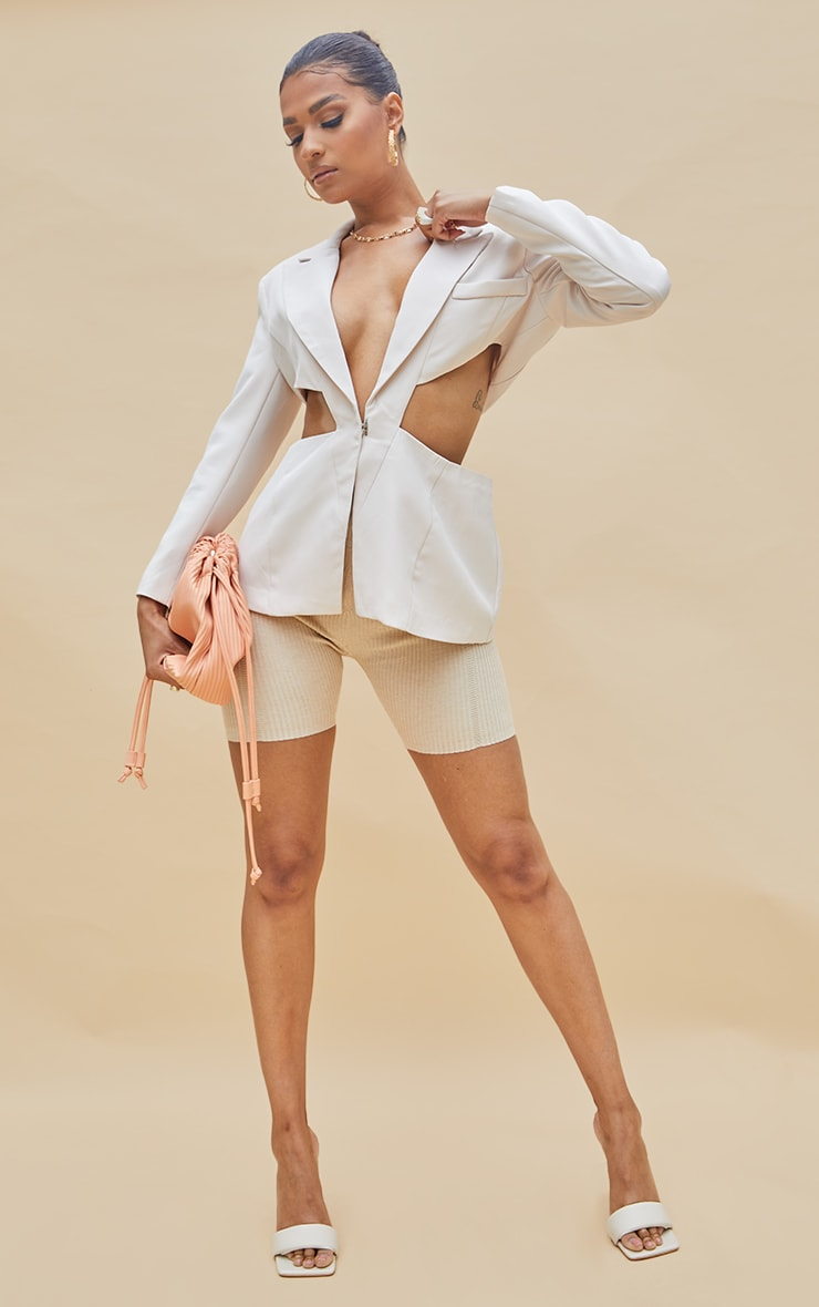 Cream Woven Extreme Cut Out Blazer 3