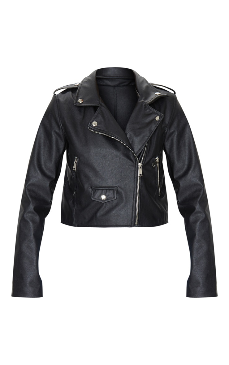 Black PU Biker Jacket With Zips 5