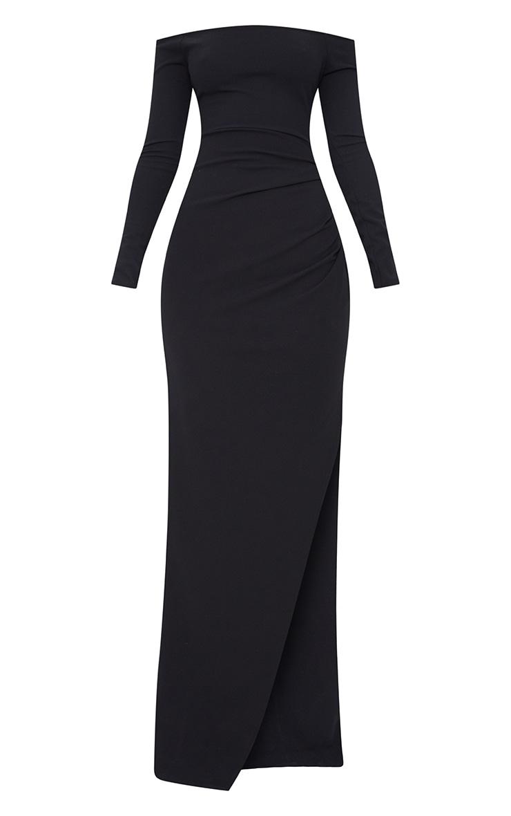 Black Wrap Over Long Sleeve Bardot Maxi Dress 3
