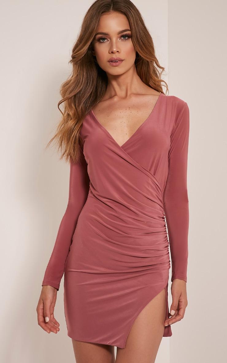 Iona Rose Slinky Wrap Over Bodycon Dress 1