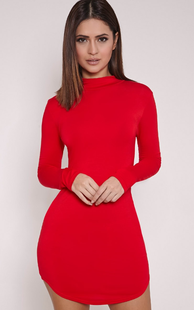 Alby robe col montant rouge à ourlet arrondi 1