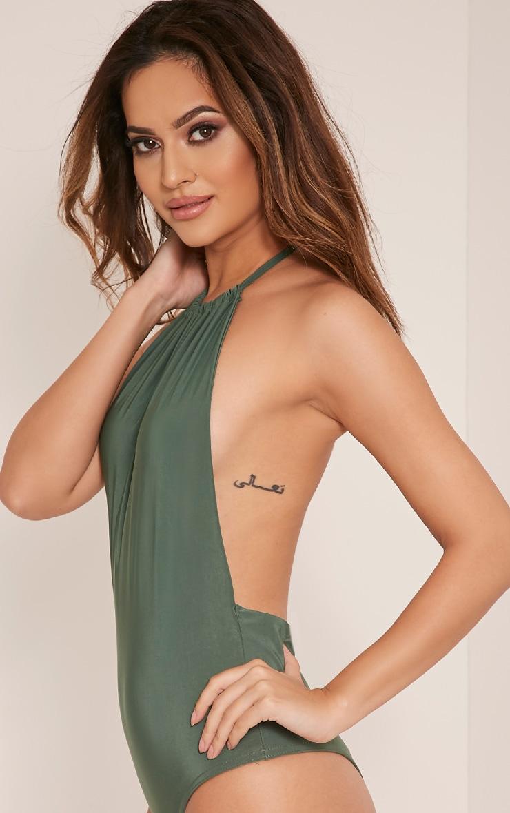 Angelika Khaki High Neck Halter Bodysuit 3