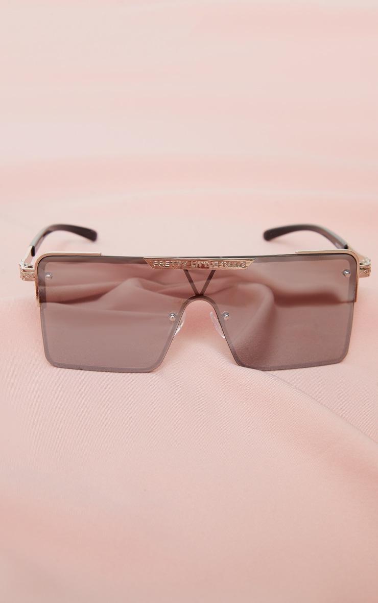PRETTYLITTLETHING Silver Revo Square Visor Sunglasses 2