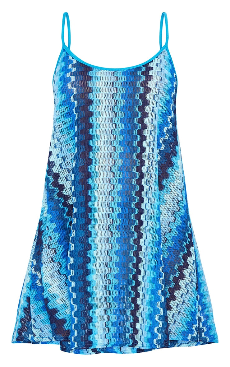 Blue Strappy Printed Knitted Swing Dress 3