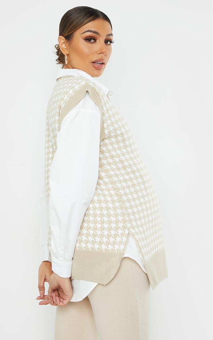Maternity Stone Dogtooth V Neck Knitted Side Split Vest 2
