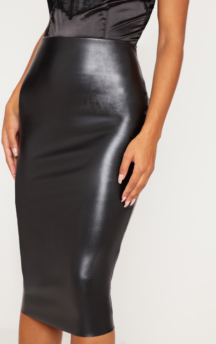 Basic Black Faux Leather Midi Skirt 5