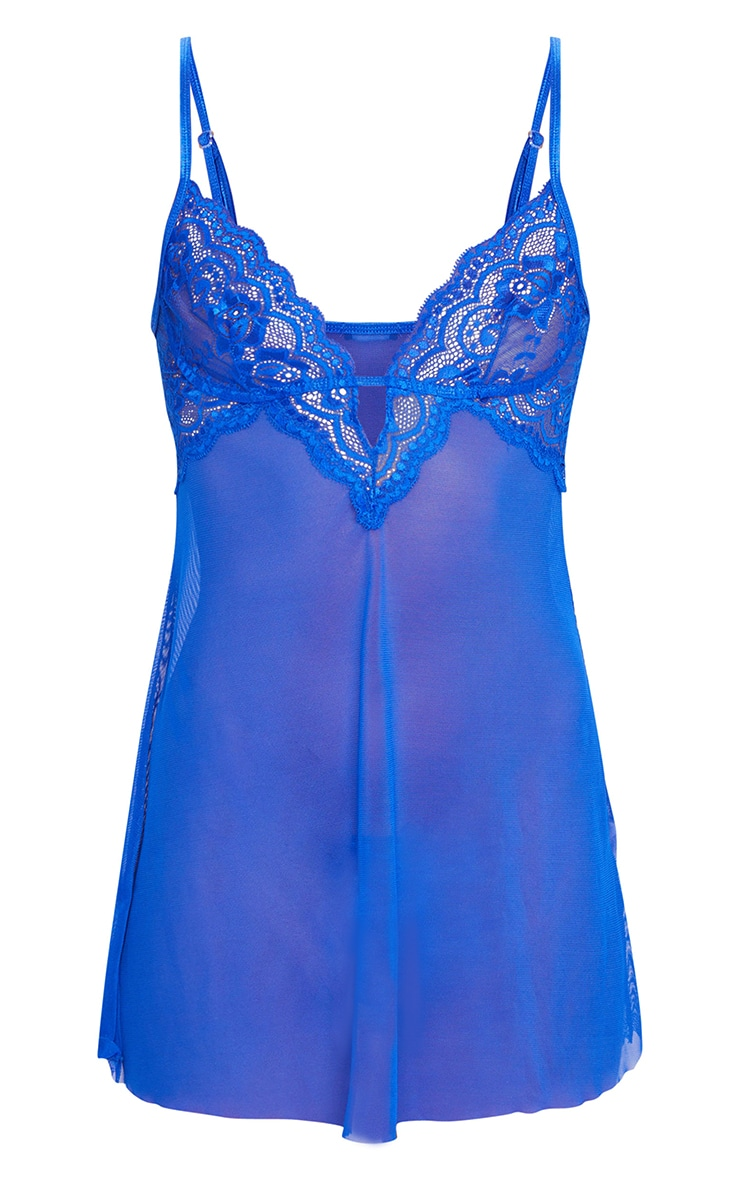 Cobalt Blue Lace Embroided Mesh Babydoll Nightie 5