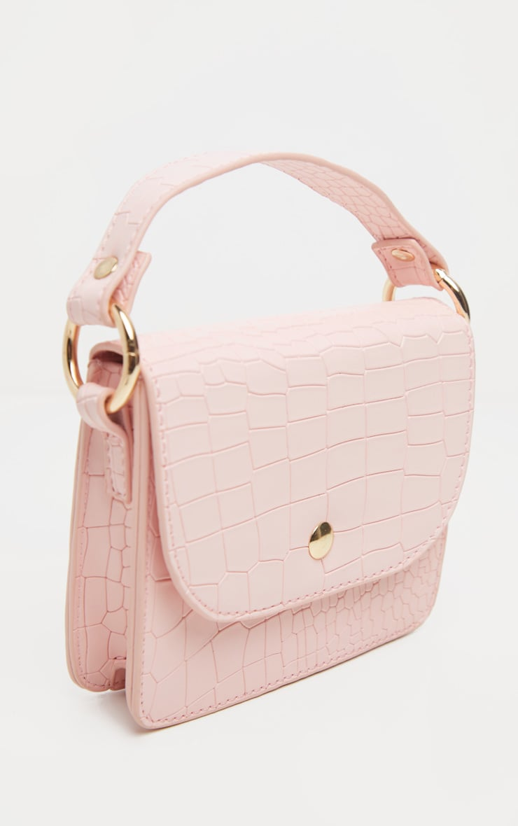 Pale Pink Croc Square Mini Bag 3