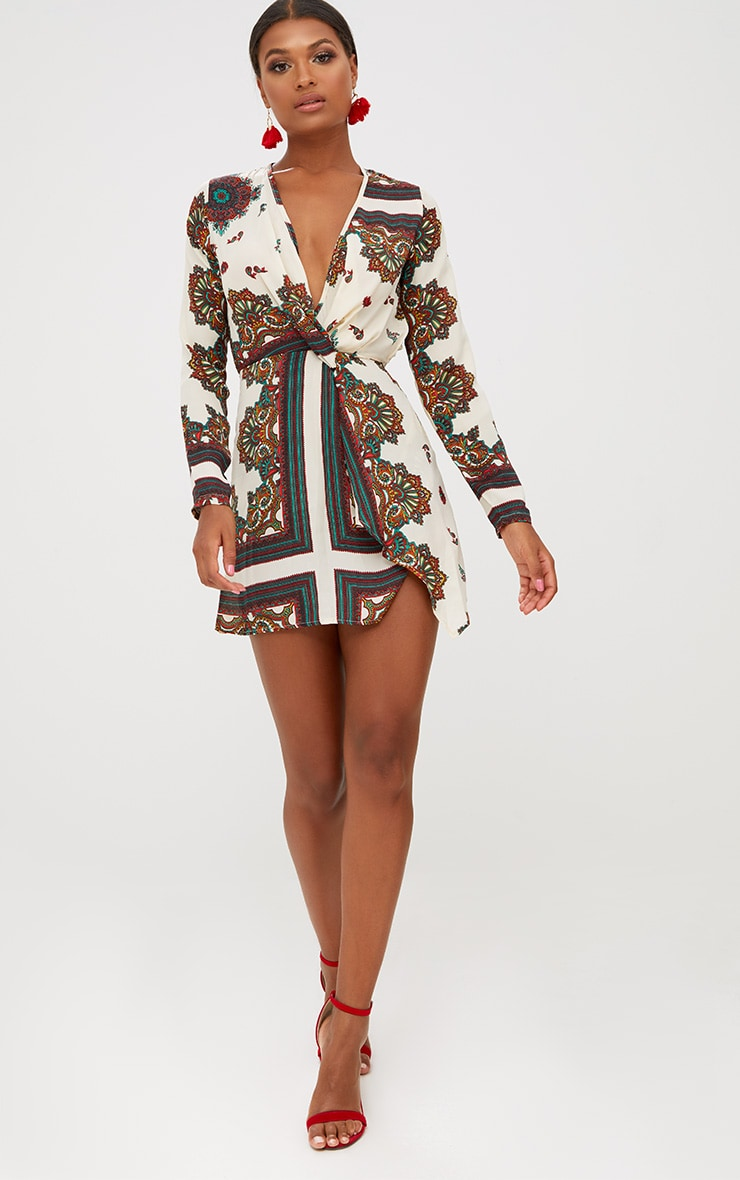 White Printed Silky Long Sleeve Wrap Dress 4