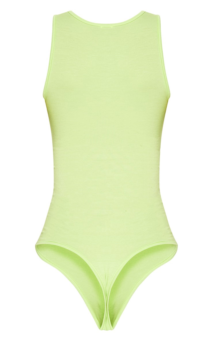 Lime Jersey Cut Out Sleeveless Thong Bodysuit 4