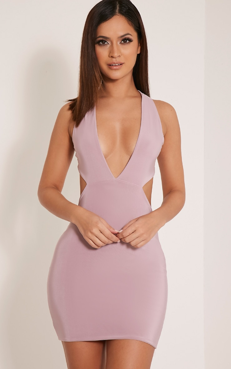 Biddy Mauve Deep V Plunge Bodycon Dress 1 eadf005ab