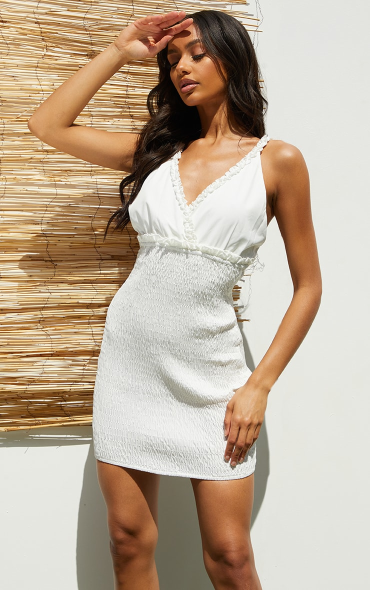 White Shirred Strappy Woven Bodycon Dress 1