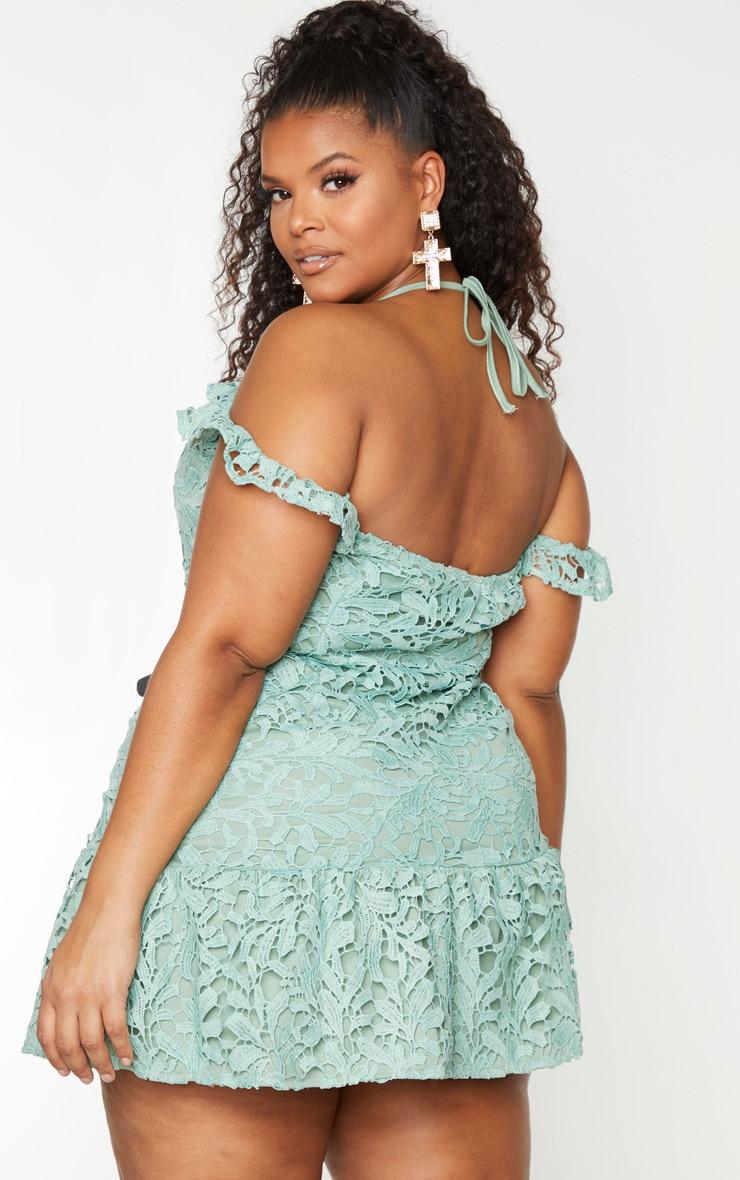 Plus Sage Green Lace Bardot Frill Hem Bodycon Dress 2