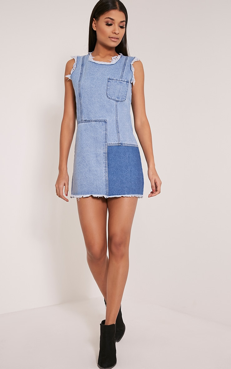 Naomie Blue Patchwork Denim Shift Dress 5