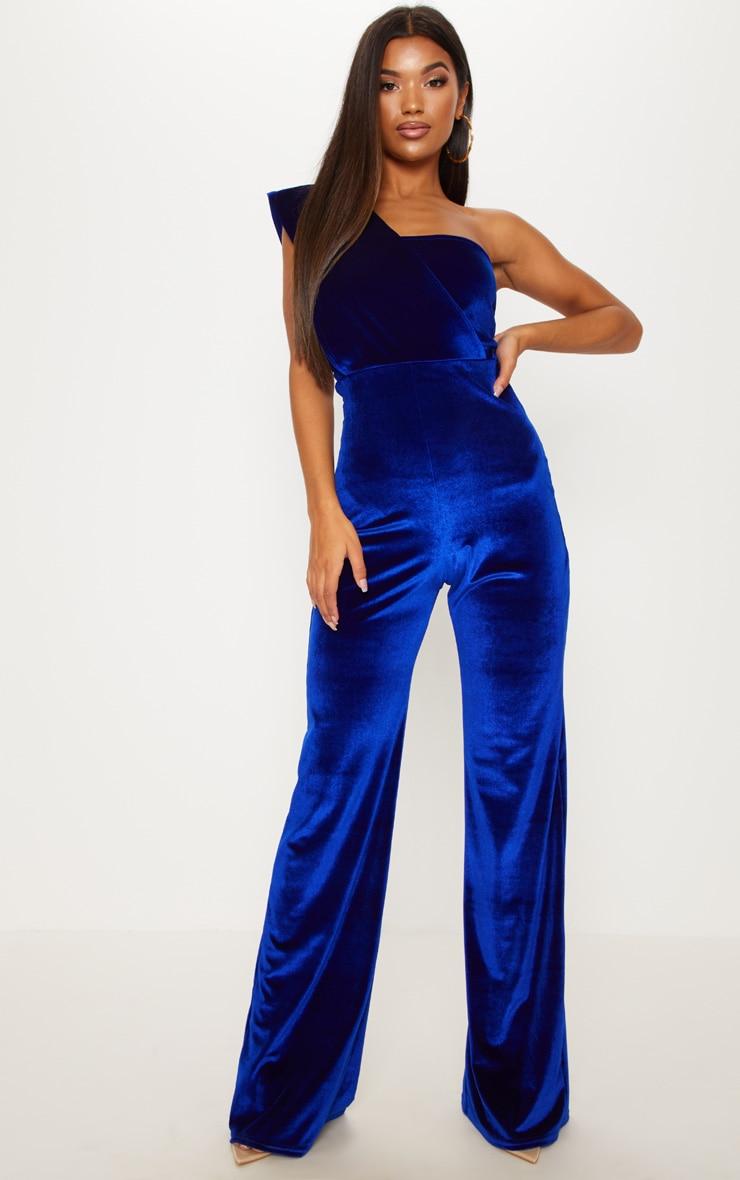 2391b4c6d5 Cobalt Velvet Drape One Shoulder Jumpsuit image 1