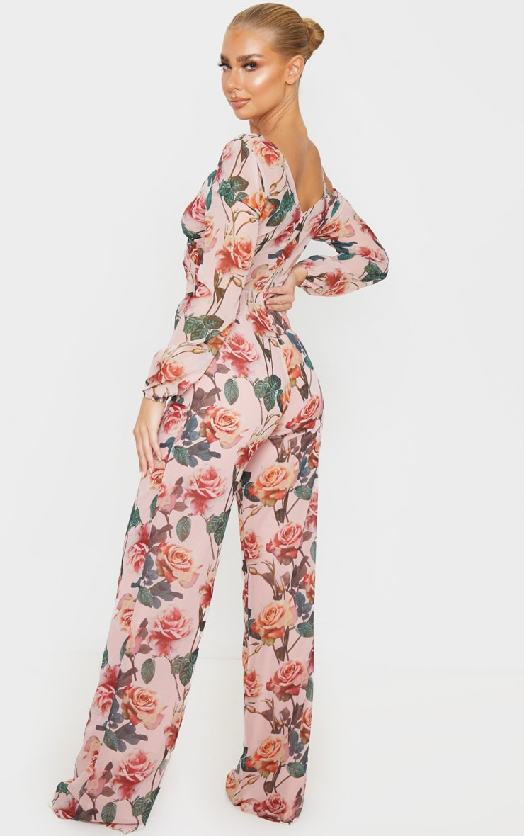 Pink Rose Print Chiffon Cut Out Jumpsuit 2