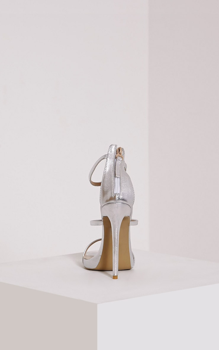 Asara Silver Metallic Heeled Sandals 5
