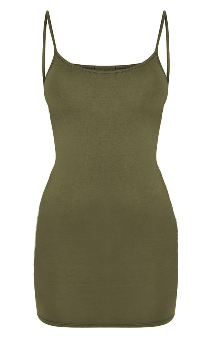 Khaki Strappy Scoop Neck Bodycon Dress 3