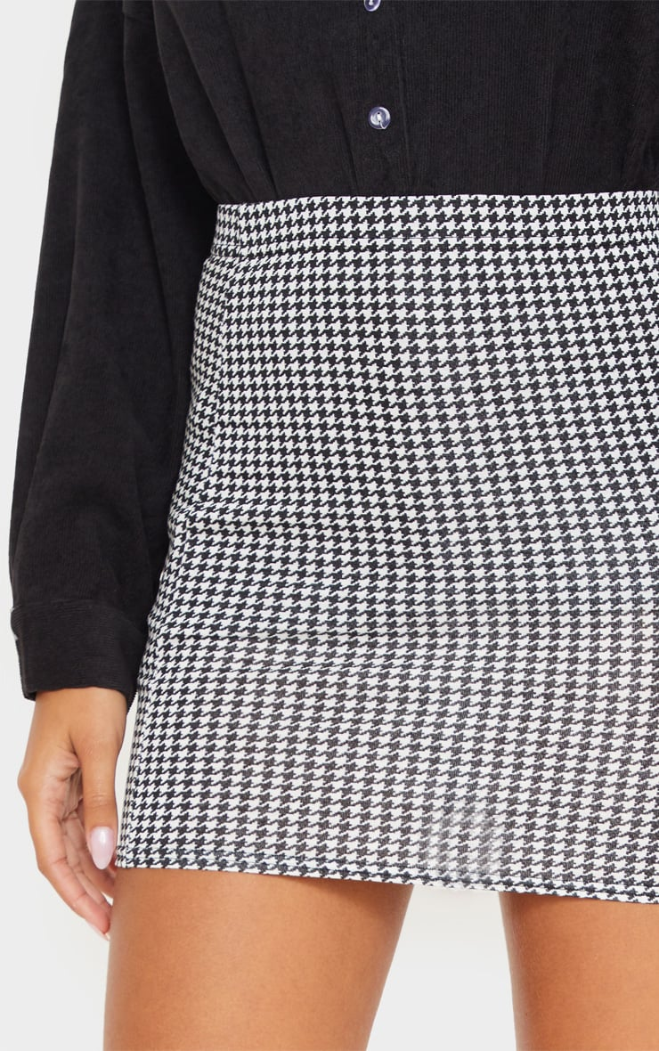 Dogtooth Check Print Mini Skirt  6