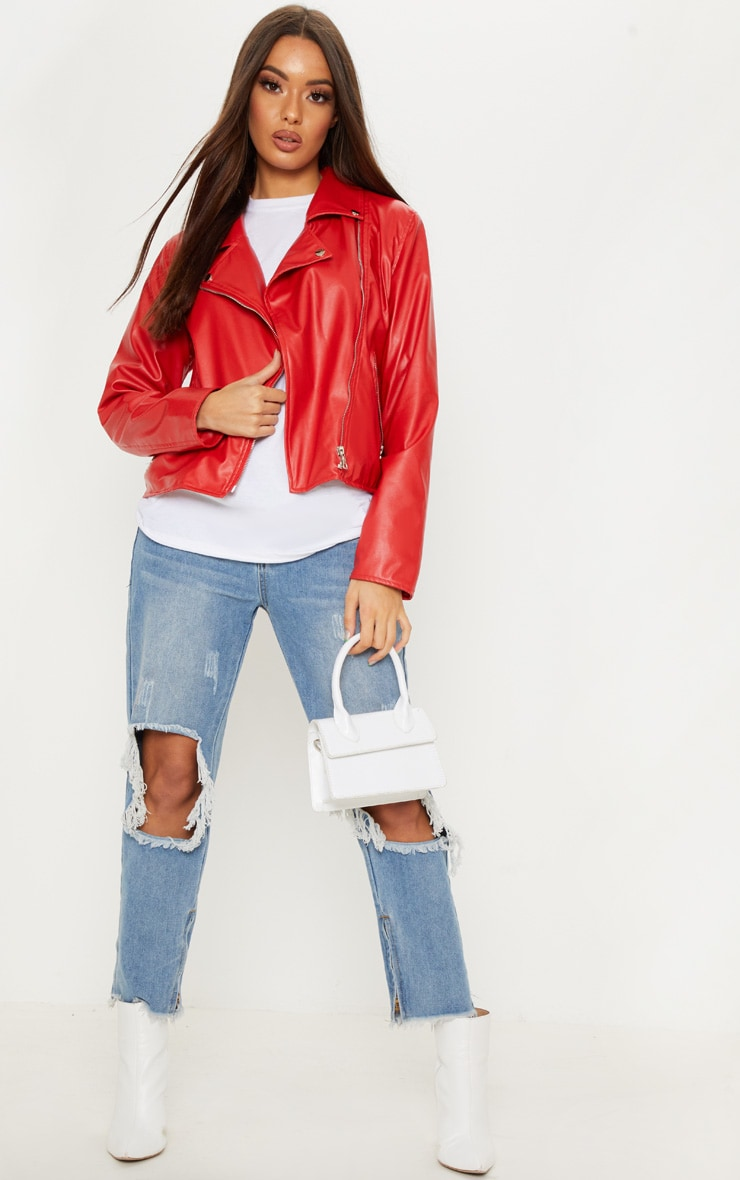 Bright Red PU Biker Jacket 4