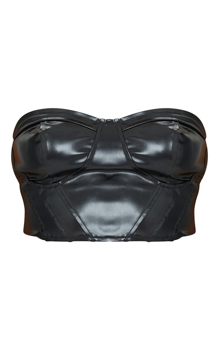 Top bandeau style corset en similicuir noir à détail bonnets 5