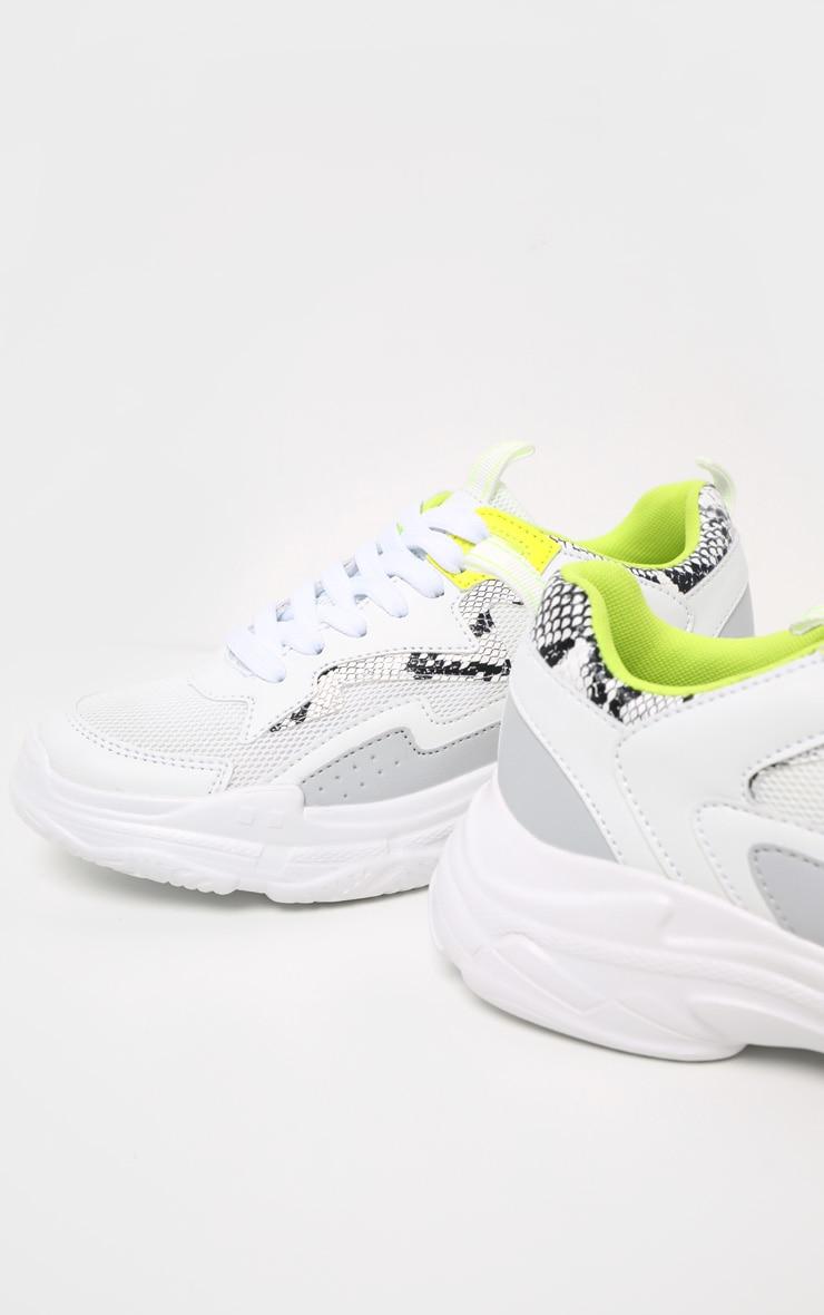 White Neon Snake Sneakers 4