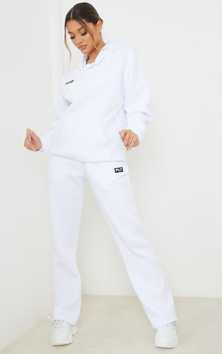 PRETTYLITTLETHING White Badge Detail Straight Leg Joggers 1